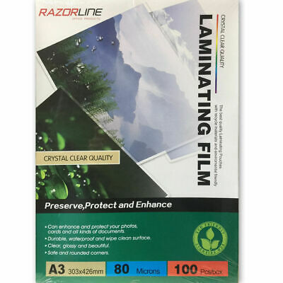 100pk A3 Laminating Film Pouches Sheets 80Micron Safeguard Protect for Laminator