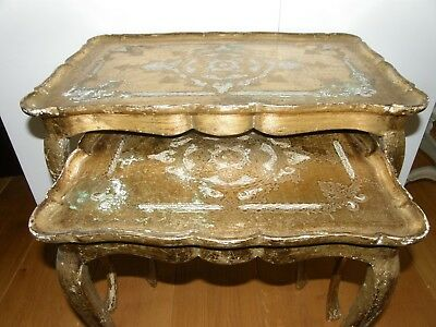 Pair Of Vintage Gold Painted Italian Side Tables.