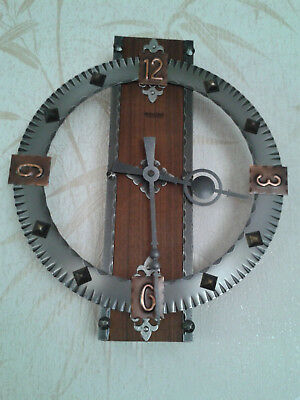 Vintage Mauthe electric wall clock with unusual (unique?) wood and metal design