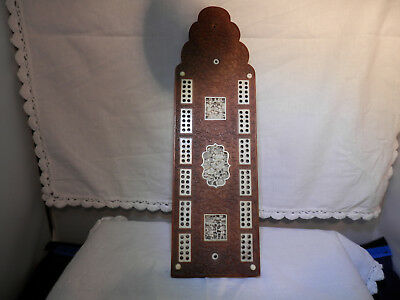 Superb Chi carved plaques inlaid cribbage board QING, 19th C