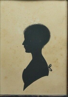Georgian Painted Silhouette Young Girl Reeded Frame English C 1810