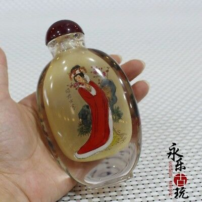 Collectible Handwork glass inside painting Chinese classic belle snuff bottle