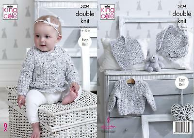 5c85920f1a80 KING COLE 4968 Knitting Pattern Baby Cardigans and Waistcoat in ...