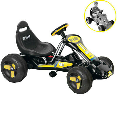 Kids Black Pedal Powered Go Kart Children Ride On Toy Bike Car Racing Buggy