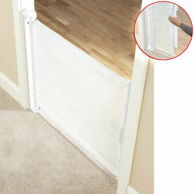 White 79cm Tall 61-107cmcm Baby Wide Door Hide-away Pet Dog Gate Safety Barrier