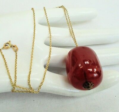 Large vintage cherry amber bakelite pendant + 14ct rolled gold chain