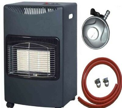 Black 4.2kw Portable Heater Standing Heating Cabinet Butane Gas Heater With Hose