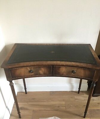Antique Leather Topped Table With Drawers