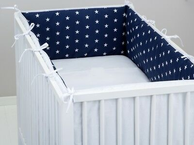 luxury ALL ROUND BUMPER NAVY STARS COVERS 4 SIDES COT /COT BED 360 or 420 CM