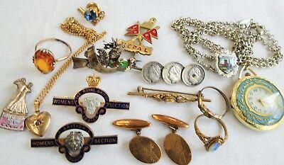 Lot antique/vintage gold metal rings, coins, badges, brooches cuff links, rings