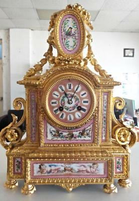 Beautiful Antique French Gilt & Sevres Porcelain 8 day Mantle Clock by S.Marti