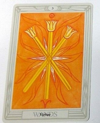 Virtue 3 Wands single tarot card Crowley Large Thoth Tarot 1996 AGM Agmuller