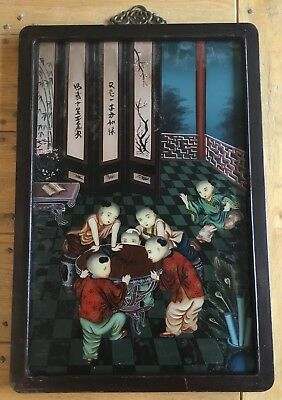 Old Vintage Chinese Reverse Glass Painting Of Boys With Crickets On A Table