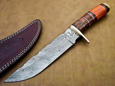 Rody Stan CUSTOM HAND MADE DAMASCUS BOWIE HUNTING KNIFE - NATURAL WOOD - M-6561