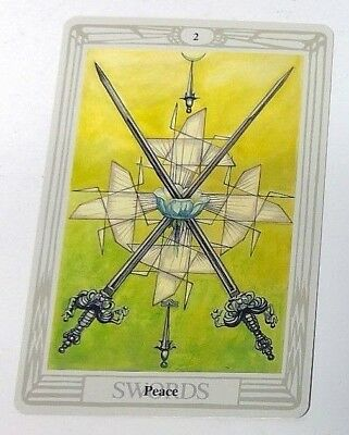 Peace 2 Swords single tarot card Crowley Large Thoth Tarot 1996 AGM Agmuller