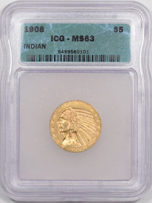 1908 $5 Indian Head Gold Icg Ms-63
