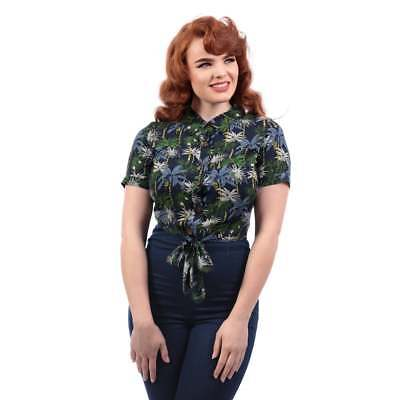 Collectif Vintage Sammy Palm Tree Print Tie Blouse