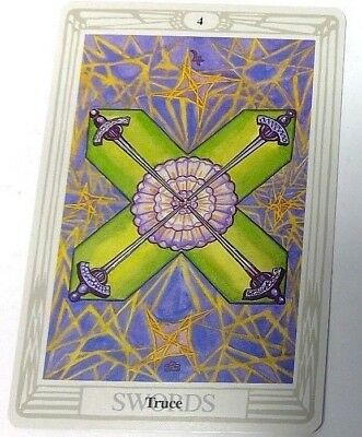 Truce 4 Swords single tarot card Crowley Large Thoth Tarot 1996 AGM Agmuller