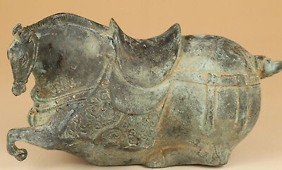 Big chinese old Bronze Hand Casting Steed Horse Statue Figure collectable