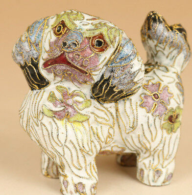 chinese old Cloisonne Hand Carved Dog Statue collectable ornament