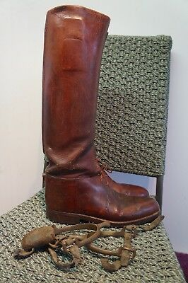 Vintage Boer War Ww1 British Officer Leather Cavalry Boots With Spurs Size 7