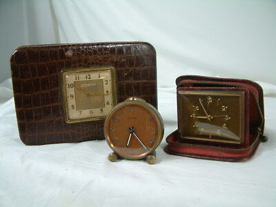 Lot Of 3 Vintage Wind-up Travel Clocks Phinney-Walker,Cyma and Elite
