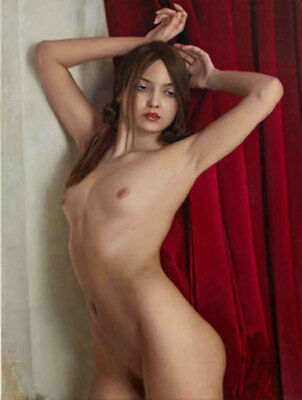 ZOPT604 long hair nude girl portrait hand paint oil painting home art on canvas