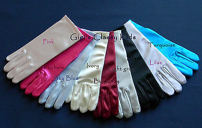 New Girls Wrist Gloves Satin Black Pink Fuchsia Blue Ivory Lilac Turquoise Grey