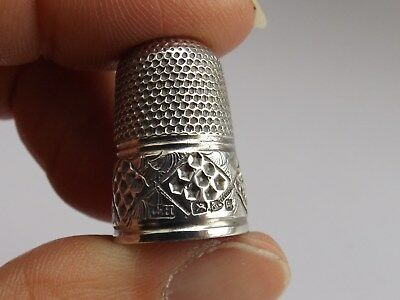 Charles Horner Solid Silver Thimble Diamond Waffle Pattern Chester 1889 No Holes