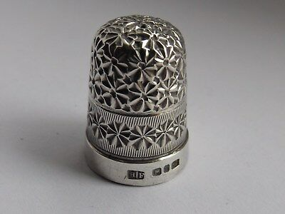 Victorian Solid Silver Thimble Birmingham 1898 Henry Fowler Daisy Pattern