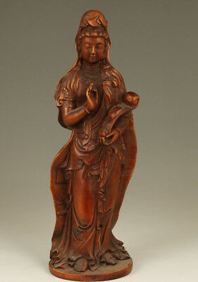 Chinese Old Boxwood Hand Carved Kwan-yin Buddha Feng shui Statue Decoration