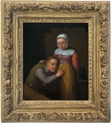 Dutch Peasants Antique Old Master Oil Painting 18th Century Dutch School