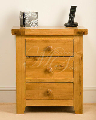 Solid Wood Chunky Oak 3 Drawer Bedside Cabinet Table Unit | Devon Range