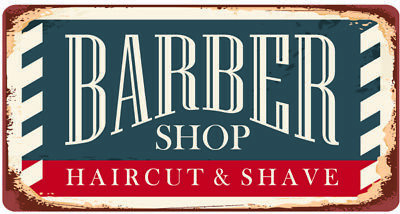 BARBER SHOP HAIRDRESSERS HAIRCUTS SHAVES METAL PLAQUE TIN SIGN OTHERS LISTED 401