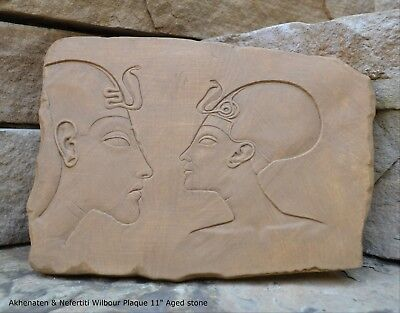 Egyptian Akhenaten & Nefertiti Wilbour Plaque Artifact Sculpture 11""