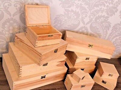 Selection of Small & Large Wooden Storage PINE Boxes Box With Lid Clasp Gift TEA