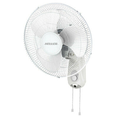 Heller White Wall Fan Pull Cord Adjustable 3 Speed Oscillating Tilt 40cm