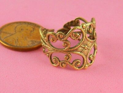 Vintage Design Antique Brass Filigree Ring - 1 Pc