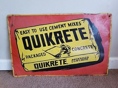 Vintage Advertising Quikrete Concrete Metal Sign 28 X 17
