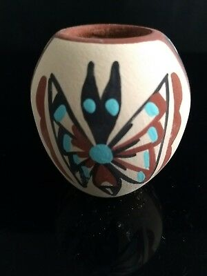 Authentic Native American Handmade Jemez Hand painted Mini Vase Signed  #J1211