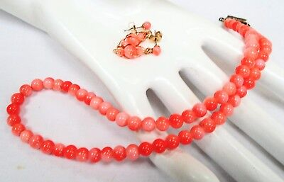 Good quality vintage coral glass bead necklace + gold metal & coral earrings