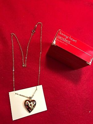 1990 Avon Loving Heart Simulated Ruby Pendant Necklace with Box NOS