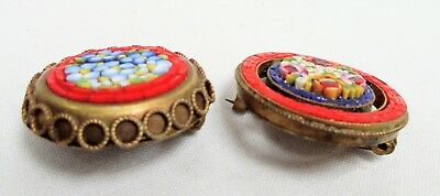 Two good quality vintage gold metal & micro mosaic flower design brooches