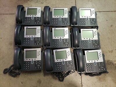 Lot of 9 Tested Cisco CP-7961Unified POE IP Phone w/ Handsets Stand