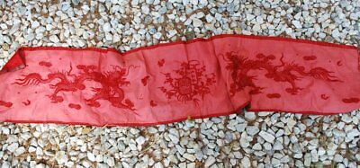 Antique Chinese Long Silk Red Panel With Dragons Padded Stitch