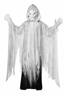 Evil Spirit Robe Hood Mask White Kids Scary Costume Large 8-14 Totally Ghoul