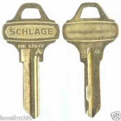 2 Schlage, Key blank 2, Everest 35-009 C123  Two Keys uncut NEW