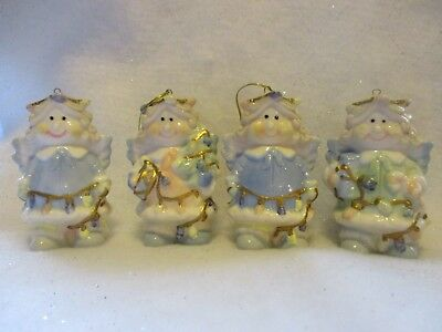 Set of 4 Adorable Ceramic Angel Ornaments