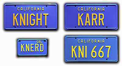 Knight Rider Trans Am | 4 PLATE | Metal Stamped Replica Prop License Plate Combo