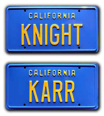 Knight Rider | KITT Trans Am | KNIGHT + KARR | STAMPED Prop License Plate Combo